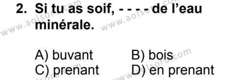 Seçmeli Yabancı Dil Fransızca 7 Dersi 2014 - 2015 Yılı 2. Dönem Sınav Soruları 2. Soru