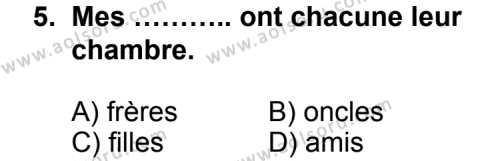 Seçmeli Yabancı Dil Fransızca 8 Dersi 2012-2013 Yılı 1. Dönem Sınavı 5. Soru