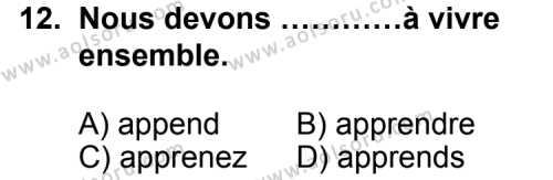 Seçmeli Yabancı Dil Fransızca 8 Dersi 2012-2013 Yılı 1. Dönem Sınavı 12. Soru