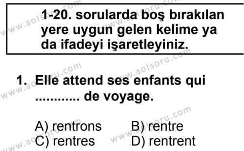 Seçmeli Yabancı Dil Fransızca 8 Dersi 2013 - 2014 Yılı 1. Dönem Sınav Soruları 1. Soru
