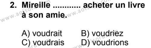 Seçmeli Yabancı Dil Fransızca 8 Dersi 2013 - 2014 Yılı 1. Dönem Sınav Soruları 2. Soru