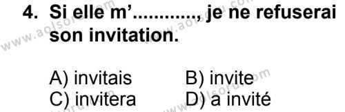 Seçmeli Yabancı Dil Fransızca 8 Dersi 2013 - 2014 Yılı 1. Dönem Sınav Soruları 4. Soru