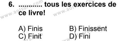 Seçmeli Yabancı Dil Fransızca 8 Dersi 2013-2014 Yılı 1. Dönem Sınavı 6. Soru