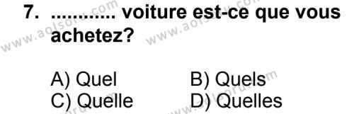 Seçmeli Yabancı Dil Fransızca 8 Dersi 2013-2014 Yılı 1. Dönem Sınavı 7. Soru