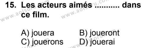 Seçmeli Yabancı Dil Fransızca 8 Dersi 2013-2014 Yılı 1. Dönem Sınavı 15. Soru