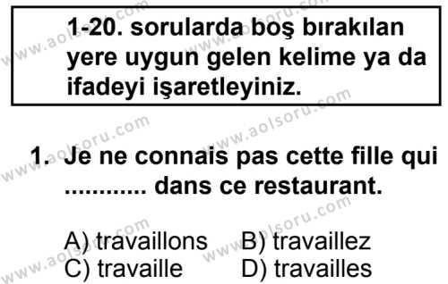 Seçmeli Yabancı Dil Fransızca 8 Dersi 2013 - 2014 Yılı 2. Dönem Sınav Soruları 1. Soru
