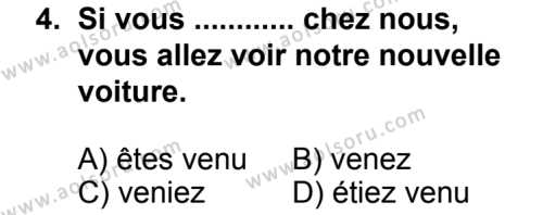 Seçmeli Yabancı Dil Fransızca 8 Dersi 2013 - 2014 Yılı 2. Dönem Sınav Soruları 4. Soru