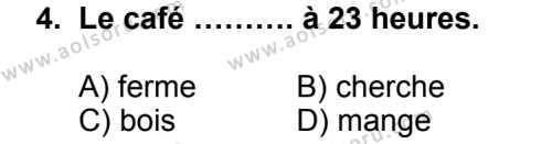 Seçmeli Yabancı Dil Fransızca 8 Dersi 2014 - 2015 Yılı 1. Dönem Sınav Soruları 4. Soru