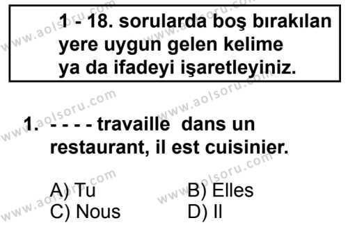 Seçmeli Yabancı Dil Fransızca 8 Dersi 2014 - 2015 Yılı 2. Dönem Sınav Soruları 1. Soru