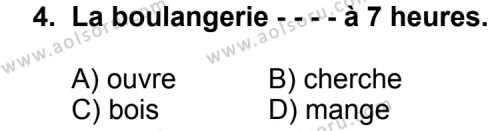 Seçmeli Yabancı Dil Fransızca 8 Dersi 2014 - 2015 Yılı 3. Dönem Sınav Soruları 4. Soru
