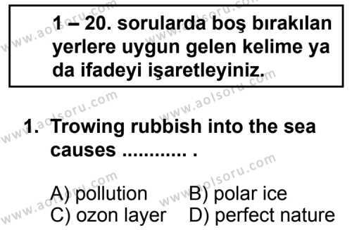 Seçmeli Yabancı Dil İngilizce 3 Dersi 2012 - 2013 Yılı 1. Dönem Sınavı 1. Soru