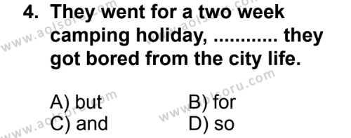 Seçmeli Yabancı Dil İngilizce 3 Dersi 2013 - 2014 Yılı 2. Dönem Sınavı 4. Soru