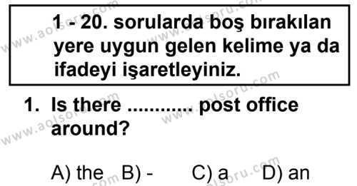 Seçmeli Yabancı Dil İngilizce 3 Dersi 2013 - 2014 Yılı 3. Dönem Sınav Soruları 1. Soru