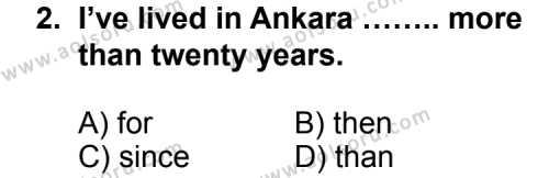 Seçmeli Yabancı Dil ingilizce 4 Dersi 2013 - 2014 Yılı 1. Dönem Sınavı 2. Soru