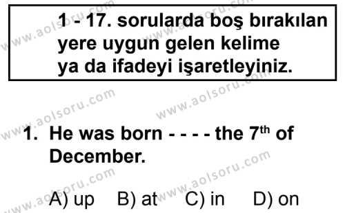 Seçmeli Yabancı Dil ingilizce 4 Dersi 2014 - 2015 Yılı Ek Sınav Soruları 1. Soru
