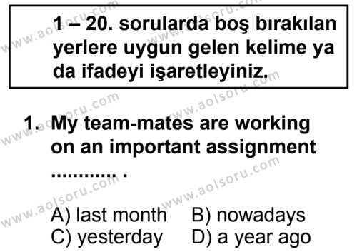 Seçmeli Yabancı Dil ingilizce 5 Dersi 2012 - 2013 Yılı 1. Dönem Sınav Soruları 1. Soru