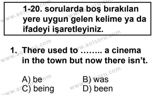 Seçmeli Yabancı Dil ingilizce 5 Dersi 2013 - 2014 Yılı 1. Dönem Sınavı 1. Soru