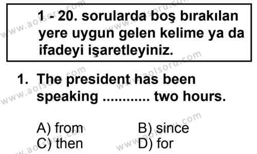 Seçmeli Yabancı Dil İngilizce 6 Dersi 2013 - 2014 Yılı 2. Dönem Sınav Soruları 1. Soru