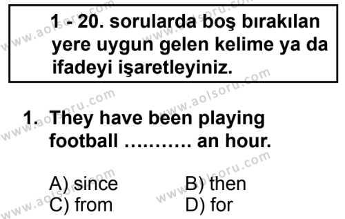 Seçmeli Yabancı Dil İngilizce 6 Dersi 2013 - 2014 Yılı 3. Dönem Sınav Soruları 1. Soru