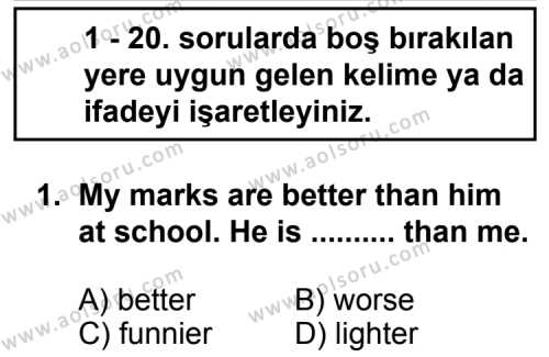 Seçmeli Yabancı Dil İngilizce 7 Dersi 2012 - 2013 Yılı 1. Dönem Sınav Soruları 1. Soru