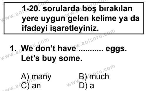 Seçmeli Yabancı Dil İngilizce 7 Dersi 2012 - 2013 Yılı 2. Dönem Sınav Soruları 1. Soru