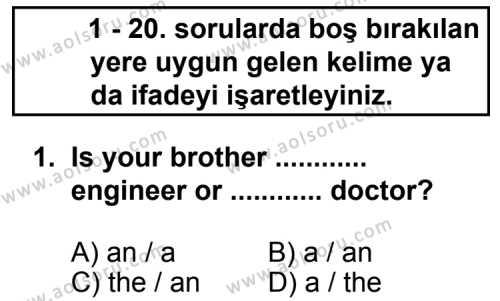 Seçmeli Yabancı Dil İngilizce 7 Dersi 2012 - 2013 Yılı 3. Dönem Sınavı 1. Soru