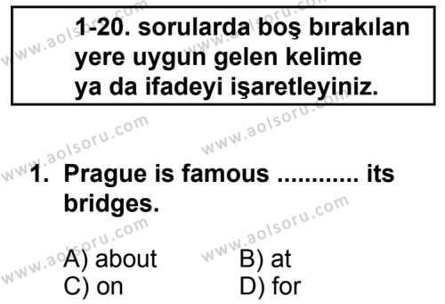 Seçmeli Yabancı Dil İngilizce 7 Dersi 2014-2015 Yılı 1. Dönem Sınavı 1. Soru