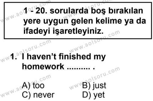 Seçmeli Yabancı Dil ingilizce 8 Dersi 2012 - 2013 Yılı 1. Dönem Sınavı 1. Soru