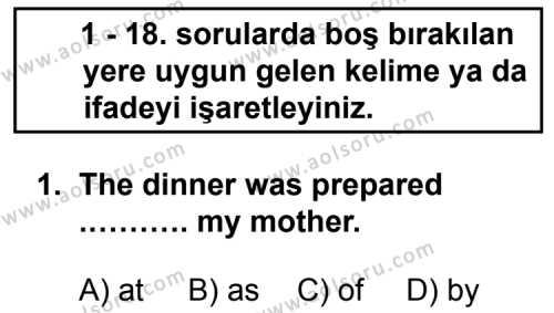 Seçmeli Yabancı Dil ingilizce 8 Dersi 2013 - 2014 Yılı 3. Dönem Sınav Soruları 1. Soru