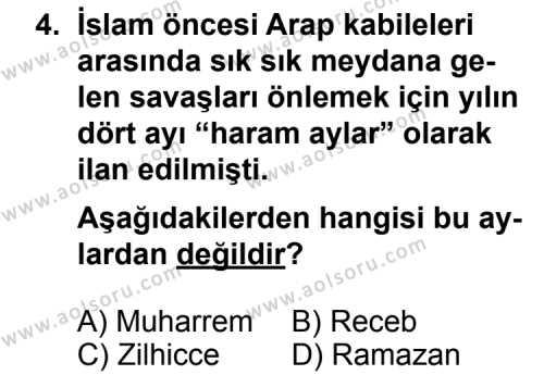 Siyer 1 Dersi 2012 - 2013 Yılı 2. Dönem Sınav Soruları 4. Soru