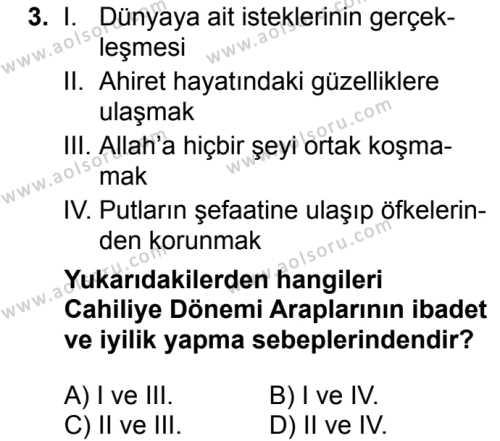 Siyer 1 Dersi 2018 - 2019 Yılı 1. Dönem Sınavı 3. Soru