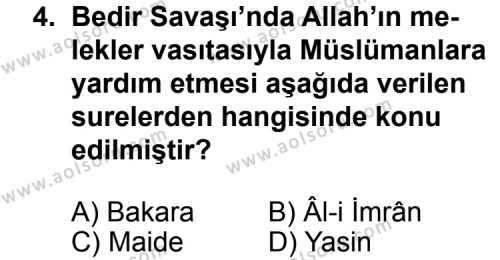 Siyer 2 Dersi 2012 - 2013 Yılı 1. Dönem Sınav Soruları 4. Soru