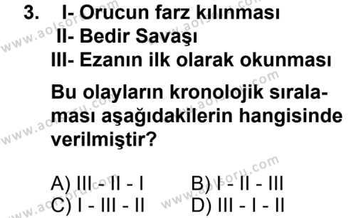 Siyer 2 Dersi 2013 - 2014 Yılı 2. Dönem Sınav Soruları 3. Soru