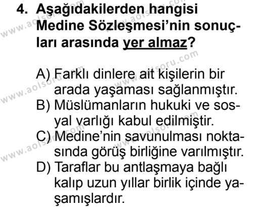 Siyer 2 Dersi 2013 - 2014 Yılı 3. Dönem Sınav Soruları 4. Soru