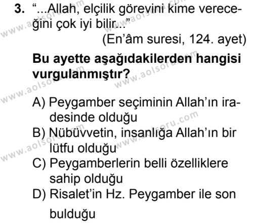 Siyer 2 Dersi 2018 - 2019 Yılı 1. Dönem Sınavı 3. Soru