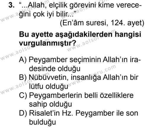 Siyer 2 Dersi 2018 - 2019 Yılı Ek Sınavı 3. Soru