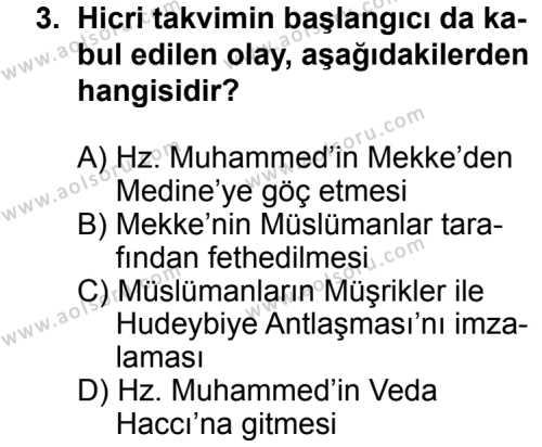 Tarih 1 Dersi 2013 - 2014 Yılı 3. Dönem Sınav Soruları 3. Soru