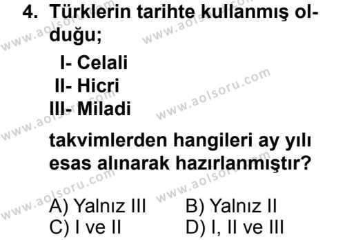 Tarih 1 Dersi 2013 - 2014 Yılı 3. Dönem Sınav Soruları 4. Soru
