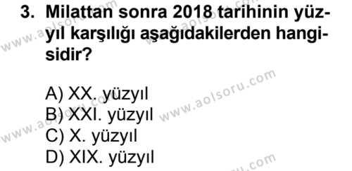 Tarih 1 Dersi 2018 - 2019 Yılı 1. Dönem Sınav Soruları 3. Soru