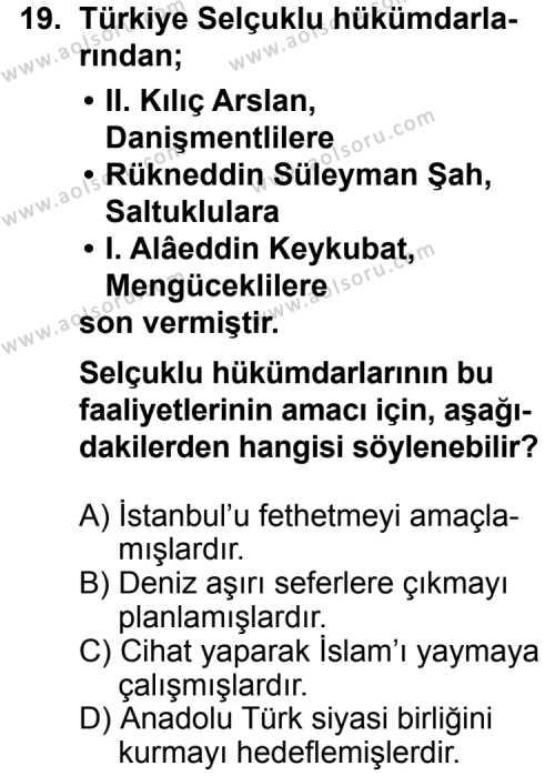 Tarih 2 Dersi 2013-2014 Yılı 1. Dönem Sınavı 19. Soru