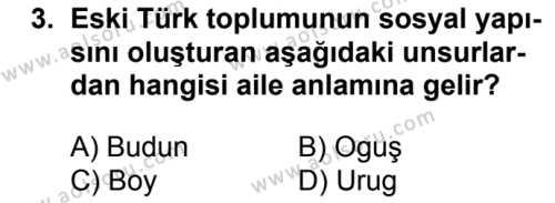 Tarih 2 Dersi 2017 - 2018 Yılı Ek Sınavı 3. Soru