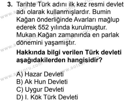 Tarih 2 Dersi 2018 - 2019 Yılı 1. Dönem Sınavı 3. Soru