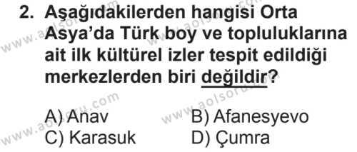 Tarih 2 Dersi 2018 - 2019 Yılı 2. Dönem Sınavı 2. Soru