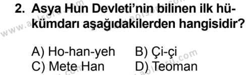 Tarih 2 Dersi 2018 - 2019 Yılı 3. Dönem Sınavı 2. Soru