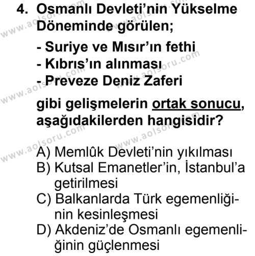 Tarih 3 Dersi 2012 - 2013 Yılı 1. Dönem Sınav Soruları 4. Soru