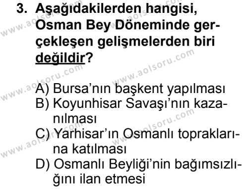 Tarih 3 Dersi 2013 - 2014 Yılı 1. Dönem Sınav Soruları 3. Soru