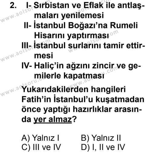 Tarih 3 Dersi 2013 - 2014 Yılı 3. Dönem Sınav Soruları 2. Soru