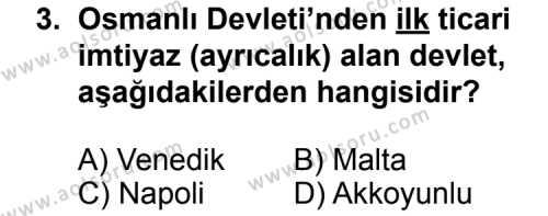 Tarih 3 Dersi 2013 - 2014 Yılı 3. Dönem Sınav Soruları 3. Soru