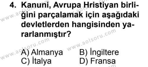 Tarih 3 Dersi 2013 - 2014 Yılı 3. Dönem Sınav Soruları 4. Soru