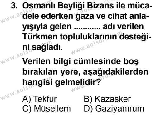 Tarih 3 Dersi 2014 - 2015 Yılı 1. Dönem Sınav Soruları 3. Soru